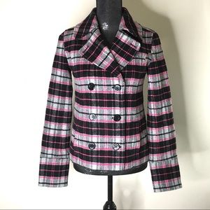 PINK Victoria's Secret Double Breasted Plaid Coat